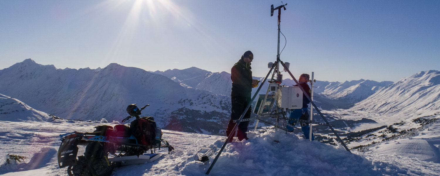 Chugach National Forest Avalanche Information Center Forecasters repairing weather station