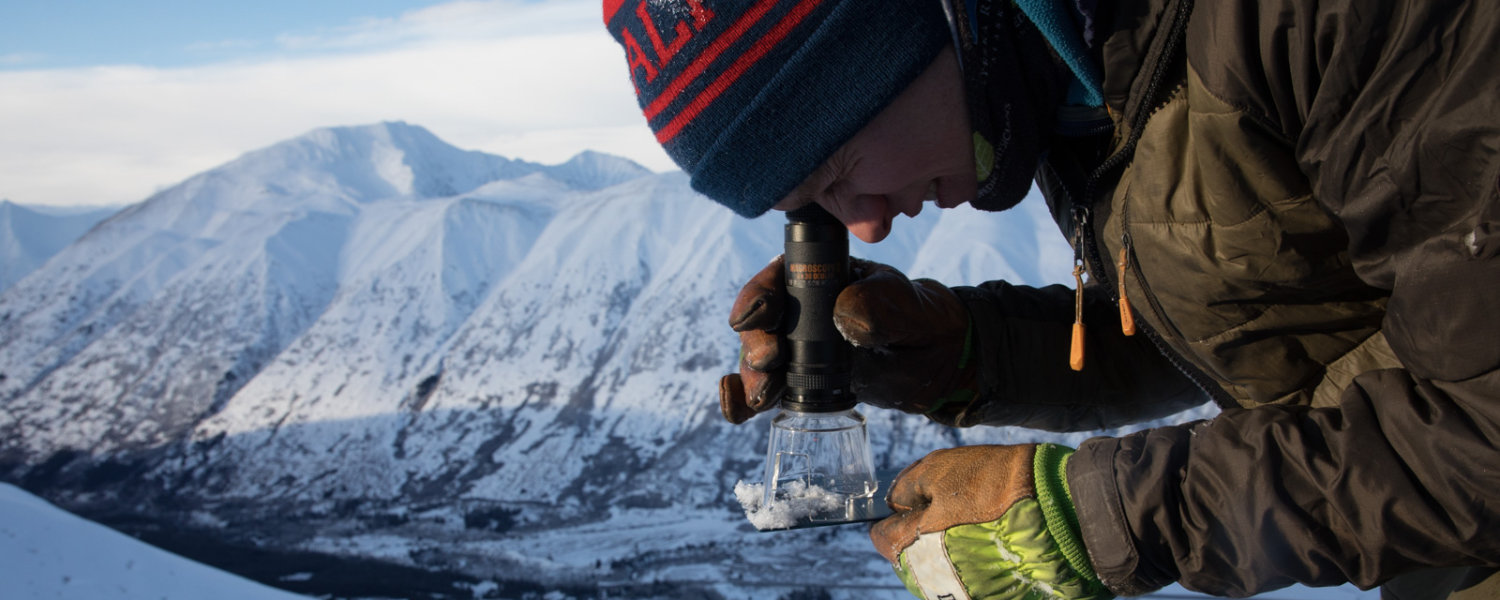 Chugach National Forest Avalanche Information Center Forecaster studying snow structure through magnifying loupe