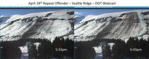 Repeat Offender - before (5:33pm) and after(5:43pm) glide avalanche